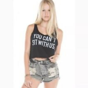 "Brandy Melville black ""you can't sit with us"" tank"